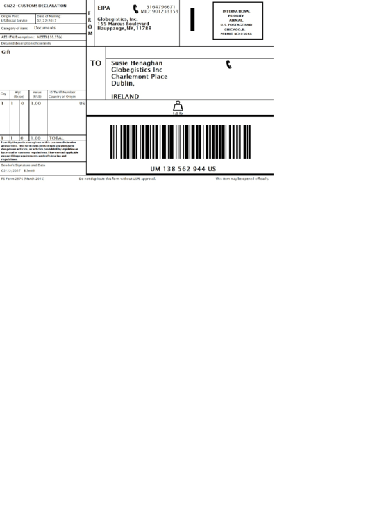 Ps Form 2976 - Customs Declaration