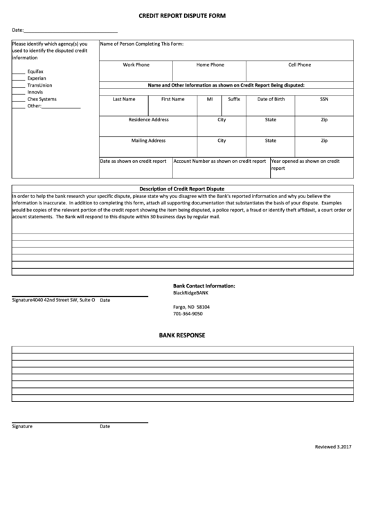 Credit Report Dispute Form Printable pdf