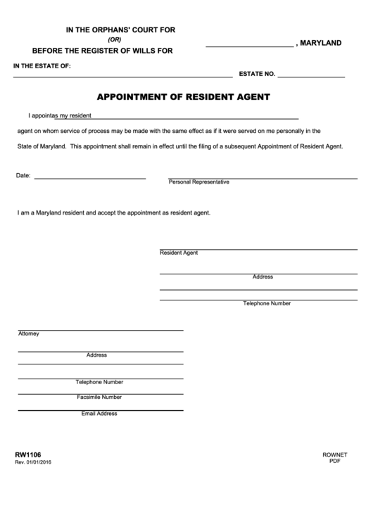 Fillable Form Rw1106 - Appointment Of Resident Agent Printable pdf