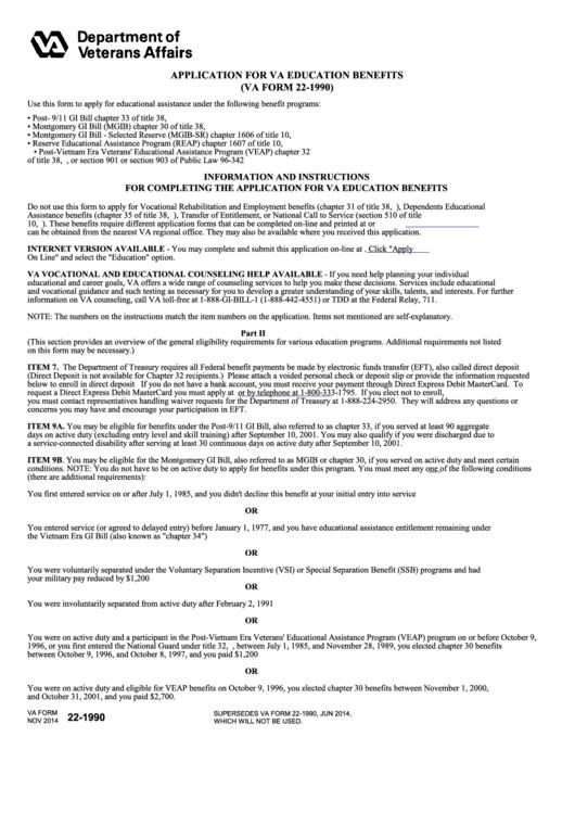 Va Form 22-1990 - Application For Va Education Benefits