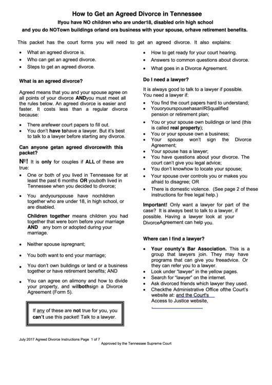 Form 1 - Request For Divorce (Complaint) Printable pdf