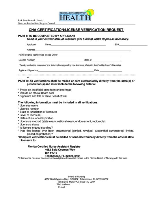 Cna Certification License Verification Request Florida Department Of Health Printable Pdf Download