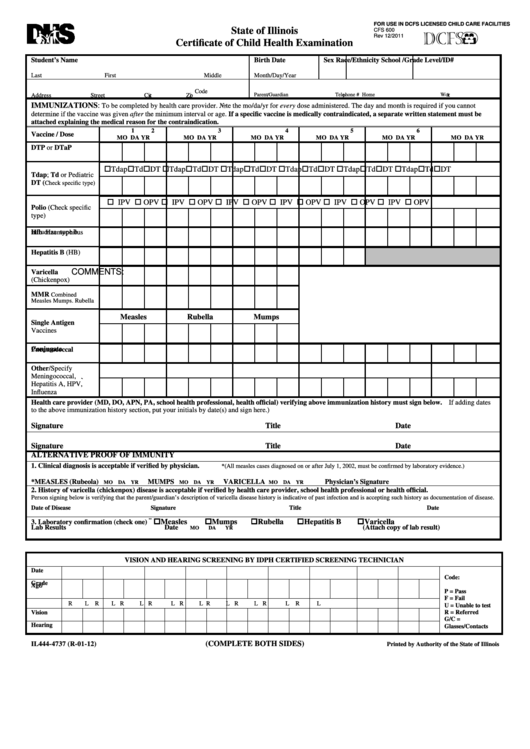 Form Il444-4737 - Certificate Of Child Health Examination - Department Of Human Services Printable pdf