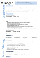 Sample Assistant Manager Resume Template