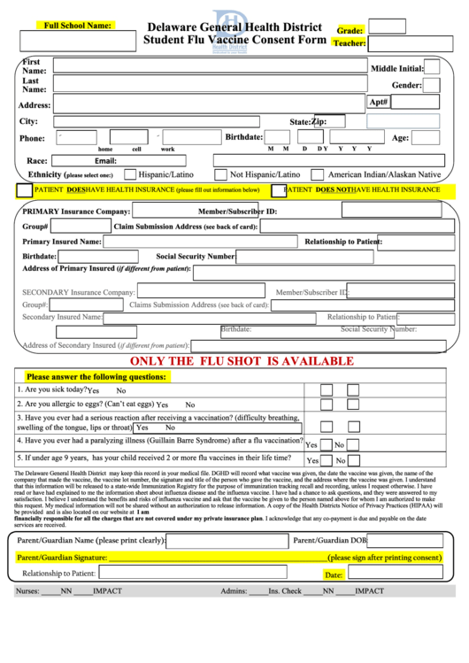 Student Flu Vaccine Consent Form   Delaware General Health District