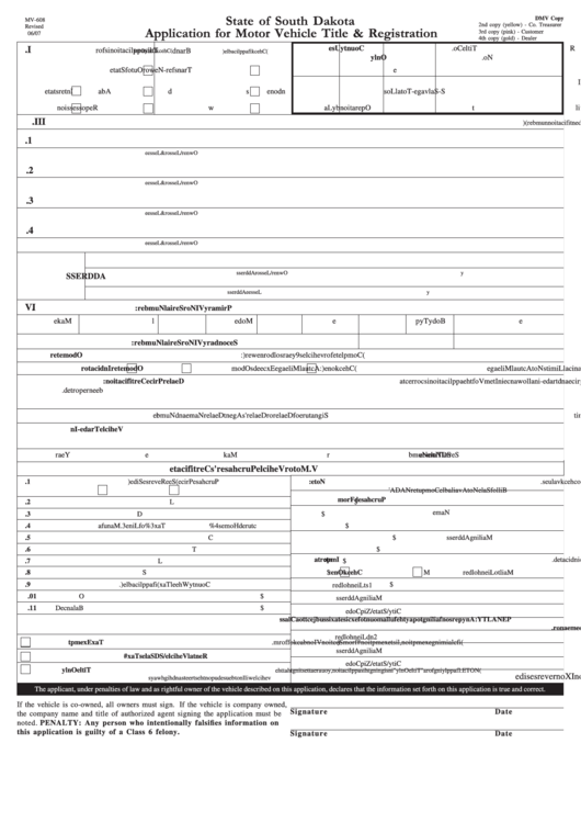 Fillable Form Mv-608 - Application For Motor Vehicle Title & Registration Printable pdf