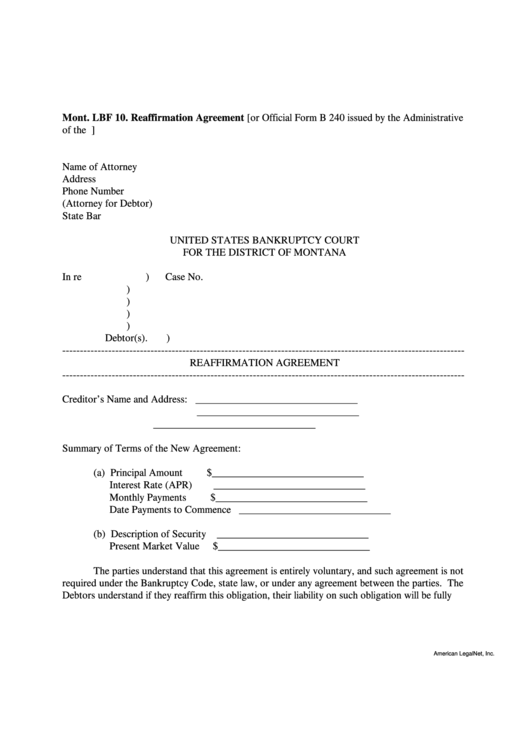 Reaffirmation Agreement Form - Montana Bankruptcy Court