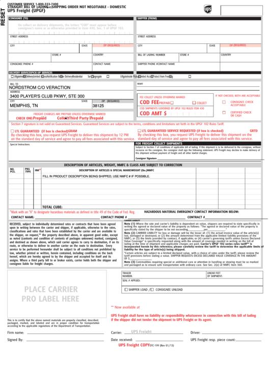 Form Otc-199 - Ups Freight (upgf)