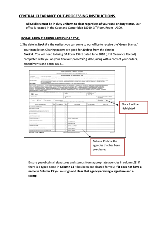 Central Clearance Out-Processing Instructions (Da Form 137-1, Da Form 137-2) Printable pdf