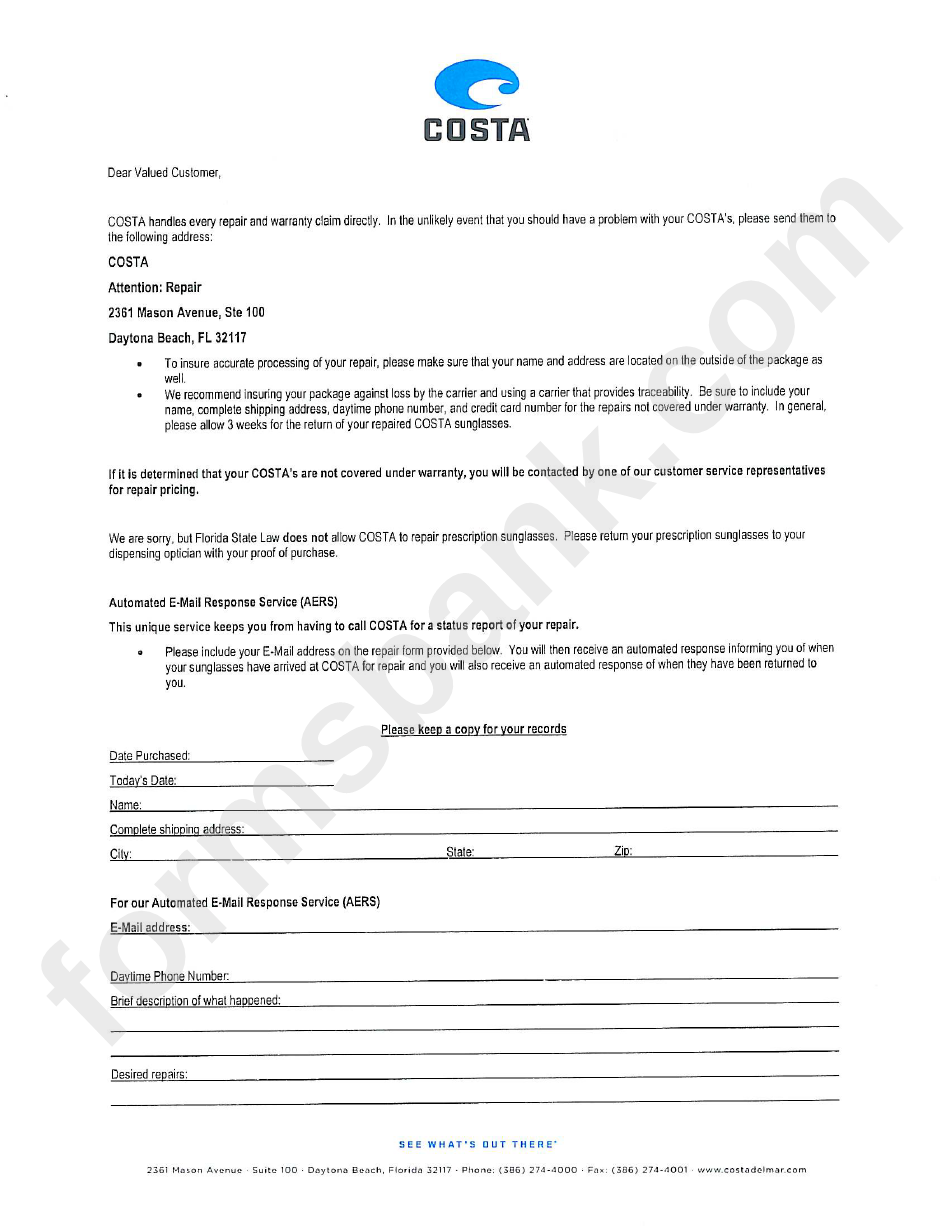 Repair Submission Form Costa Printable Pdf Download
