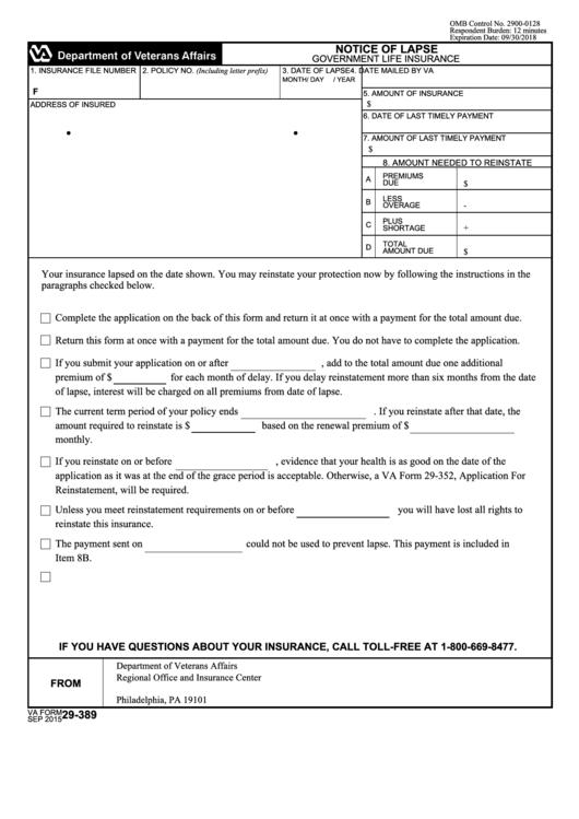 Fillable Va Form 29-389 - Notice Of Lapse printable pdf ...