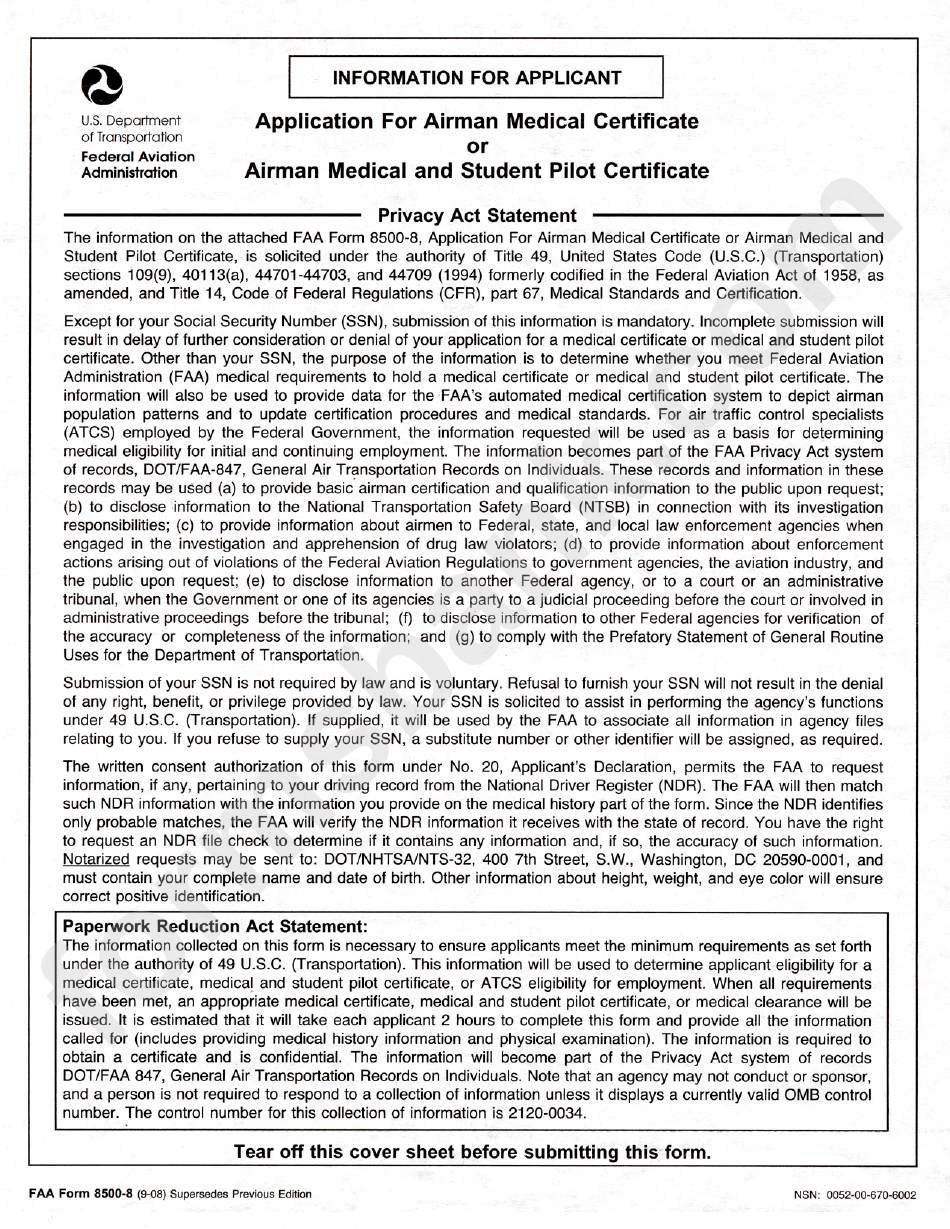 Faa Form 8500 08 Application For Airman Medical Certificate Or
