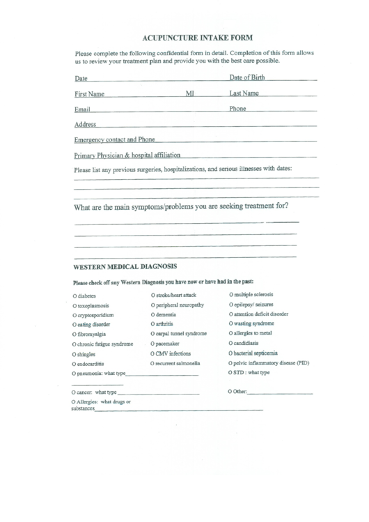 Acupuncture Intake Form Printable Pdf Download