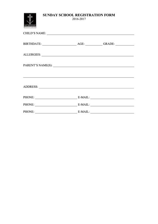 Sunday School Registration Form - Lutheran Church Of The Incarnation - 2016-2017