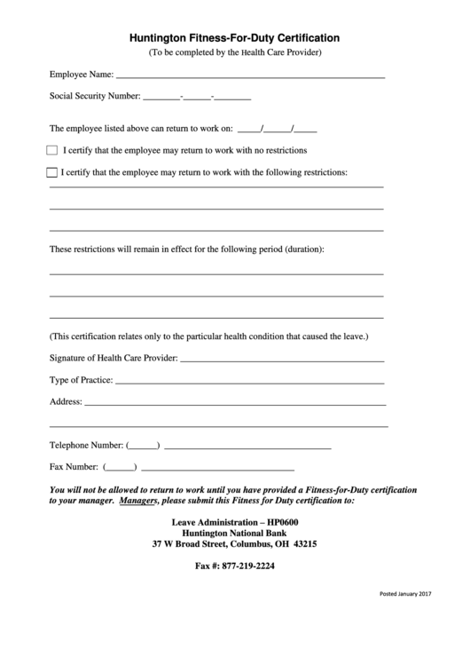 Top 10 Fitness For Duty Certification Form Templates Free To