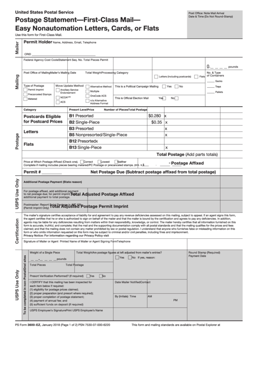 ps form 3600 ez postage statement first class mail easy nonautomation