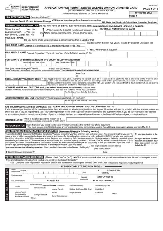 Fillable Form Mv-44 - Application For Permit, Driver License