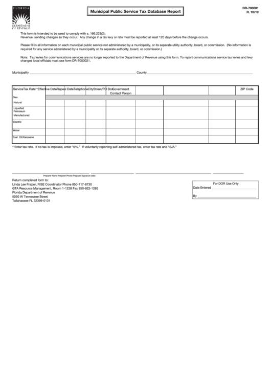 Form Dr-700001 - Municipal Public Service Tax Database Report Printable pdf