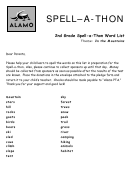 Second Grade Spell-a-thon Word List