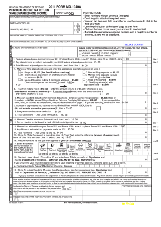 Top 5 Missouri Form Mo-1040 Templates free to download in