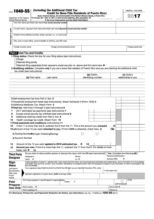 Fillable Form 1040-Ss - U.s. Self-Employment Tax Return (Including The Additional Child Tax Credit For Bona Fide Residents Of Puerto Rico) - 2016 Printable pdf
