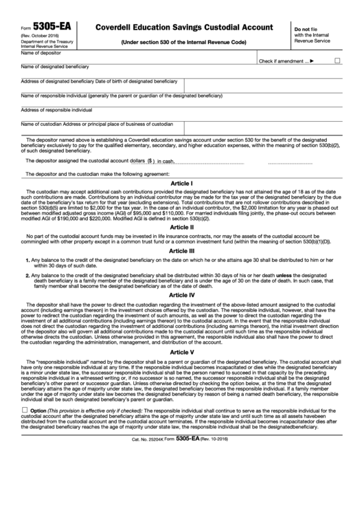 Fillable Form 5305-Ea - Coverdell Education Savings Custodial Account (Under Section 530 Of The Internal Revenue Code) Printable pdf