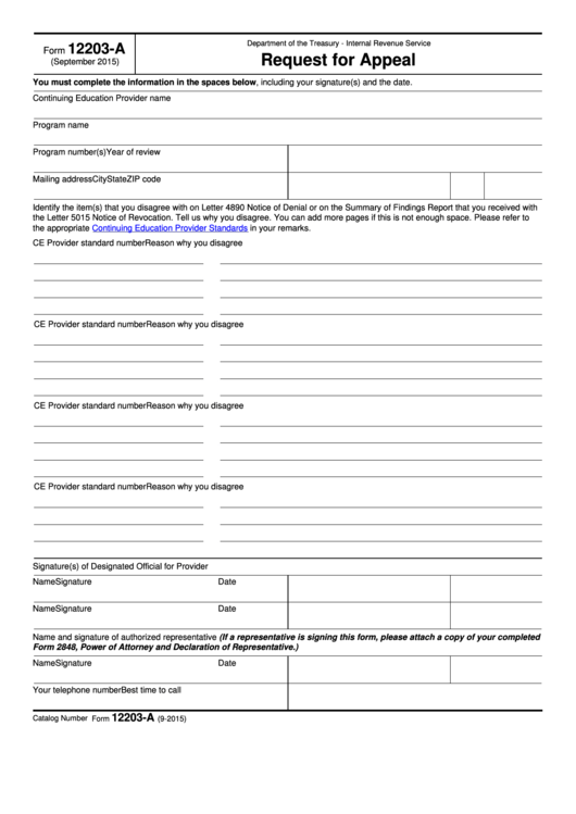 Fillable Form 12203-A - Request For Appeal Printable pdf