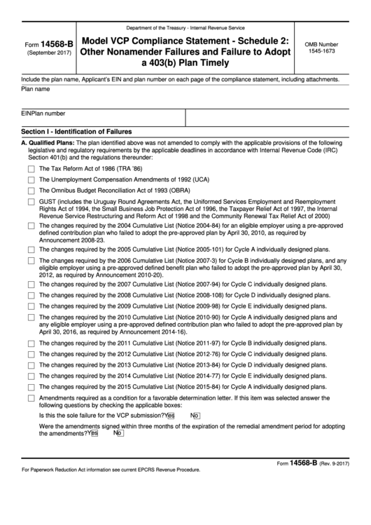 Fillable Form 14568-B - Model Vcp Compliance Statement Schedule 2 Other Nonamender Failures And Failure To Adopt A 403(B) Plan Timely Printable pdf
