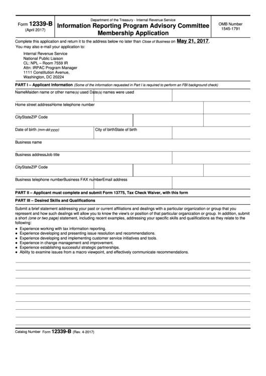 Fillable Form 12339-B - Information Reporting Program Advisory Committee Membership Application Printable pdf