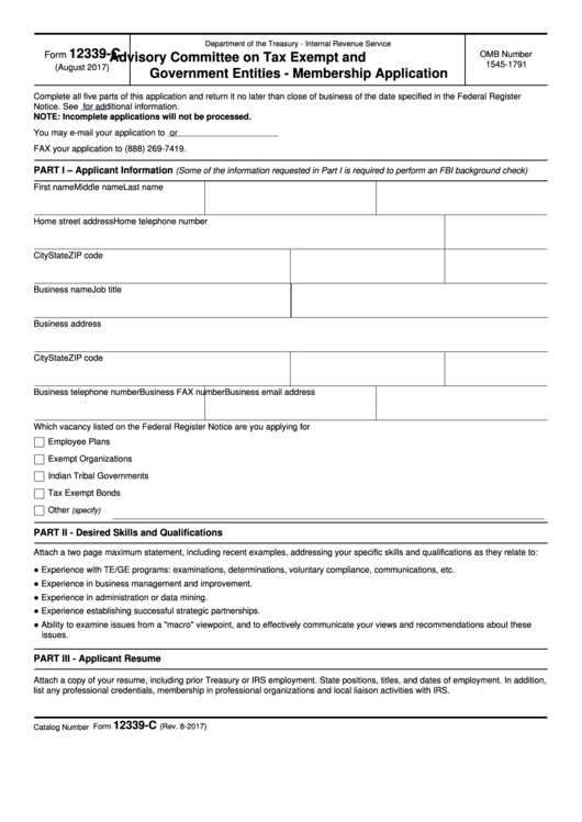 Fillable Form 12339-C - Advisory Committee On Tax Exempt And Government Entities Membership Application Printable pdf