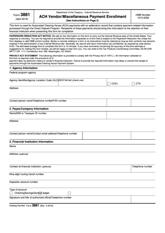 Fillable Form 3881 - Ach Vendor Miscellaneous Payment Enrollment Printable pdf