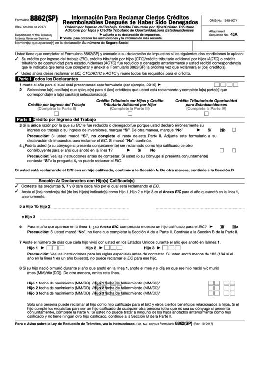 Formulario 8862(sp) - Informacion Para Reclamar Ciertos Creditos Reembolsables Despues De Haber Sido Denegados (spanish Version)