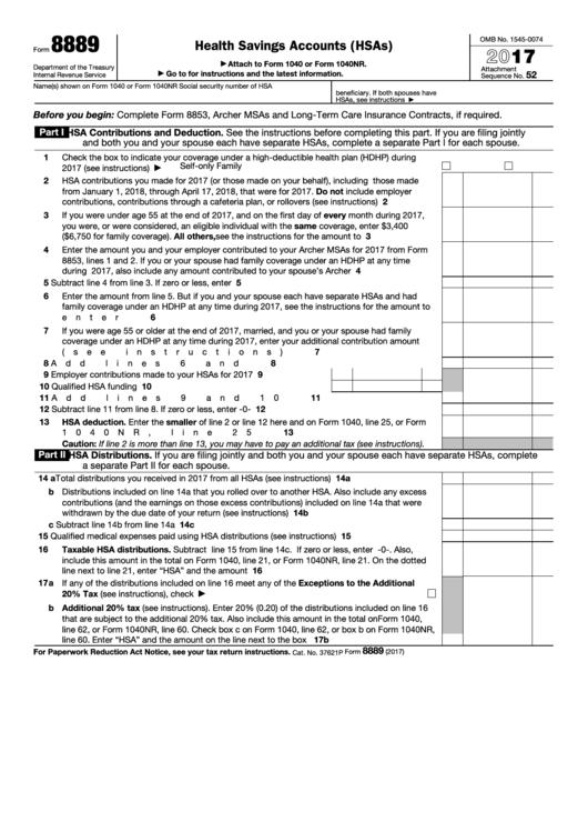 Form 8889 - Health Savings Accounts (hsas) - 2017