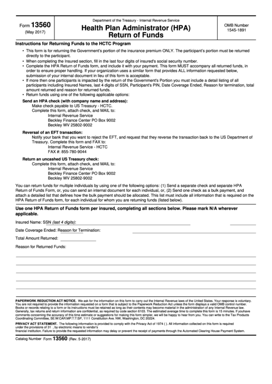 Fillable Form 13560 - Health Plan Administrator (Hpa) Return Of Funds Printable pdf