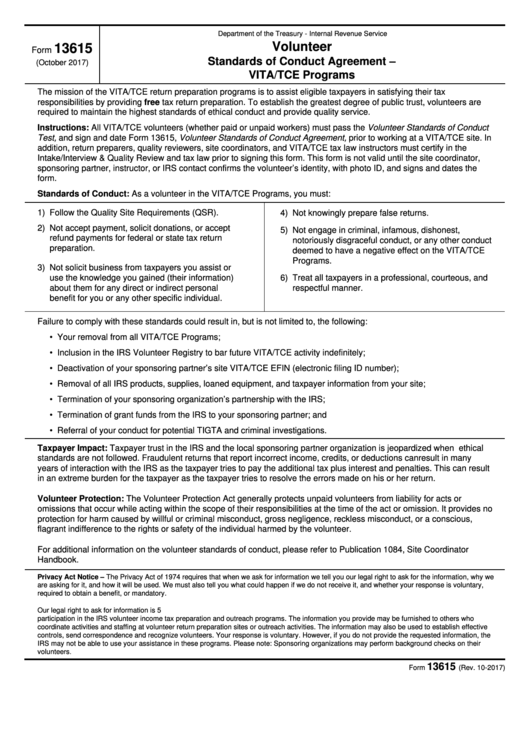 Fillable Form 13615 - Volunteer Standards Of Conduct Agreement - Vita/tce Programs Printable pdf