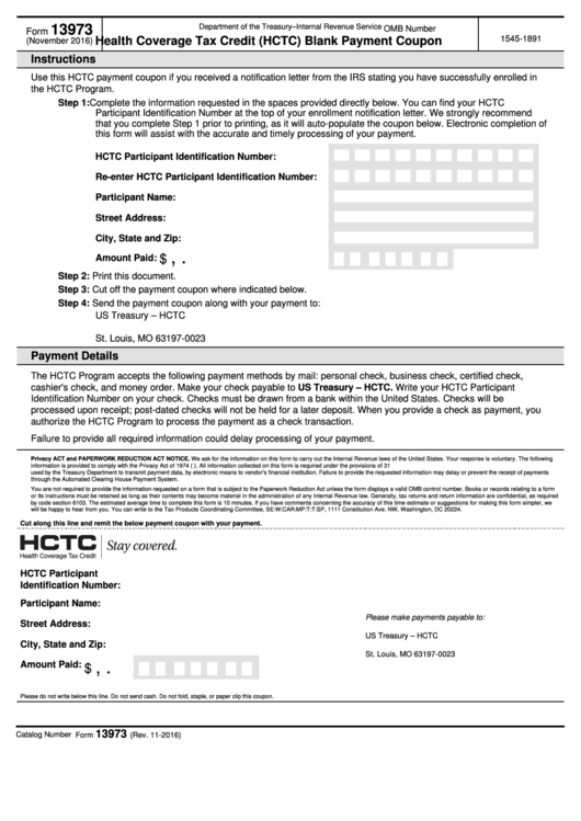 Fillable Form 13973 - Health Coverage Tax Credit (Hctc) Blank Payment Coupon Printable pdf