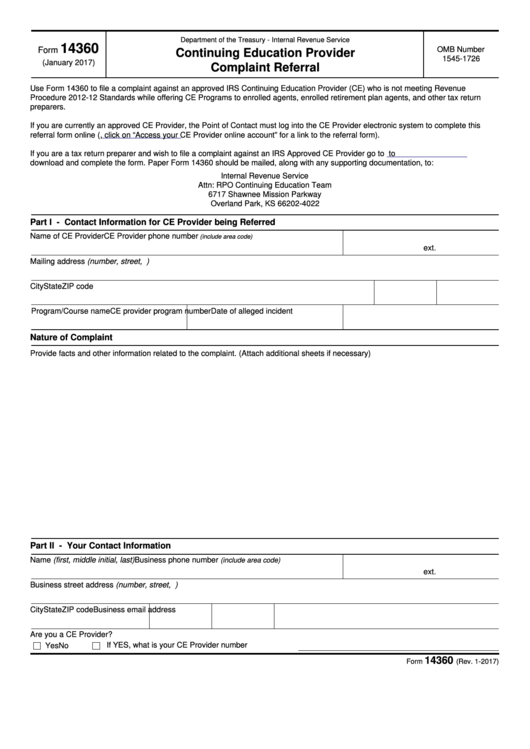 Fillable Form 14360 - Continuing Education Provider Complaint Referral Printable pdf
