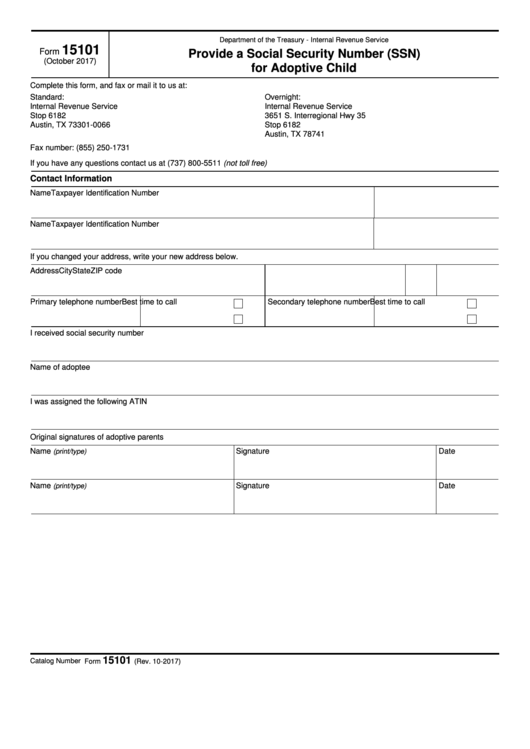 Fillable Form 15101 - Provide A Social Security Number (Ssn) For Adoptive Child Printable pdf