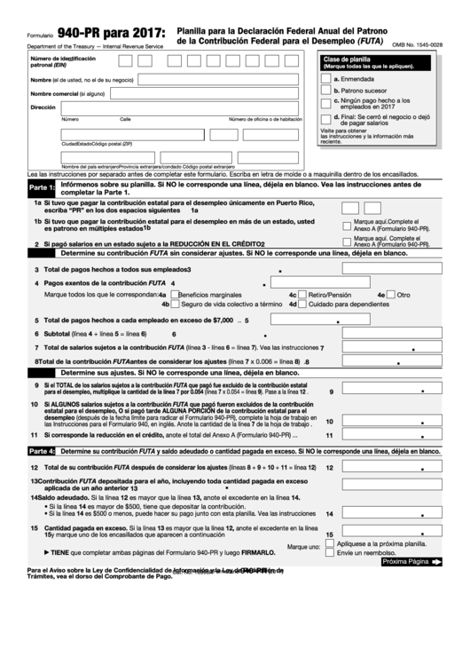 Fillable Form 940 (Pr) - Planilla Para La Declaracion Federal Anual Del Patrono De La Contribcion Federal Para El Desempleo (Futa) - 2017 Printable pdf