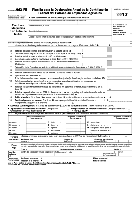 Fillable Form 943 (Pr) - Planilla Para La Declaracion Anual De La Contribucion Federal Del Patrono De Empleados Agricolas - 2017 Printable pdf