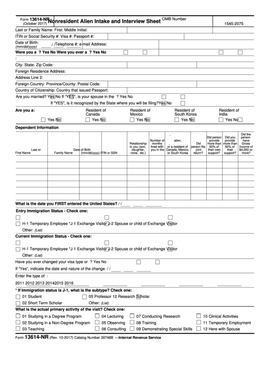 Fillable Form 13614-Nr - Nonresident Alien Intake And Interview Sheet Printable pdf