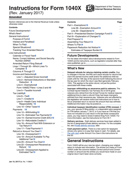 Instructions For Form 1040-x - Amended U.s. Individual Income Tax Return
