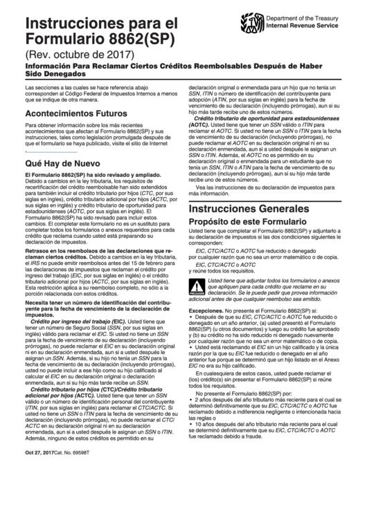 Instrucciones Para El Formulario 8862(sp) - Informacion Para Reclamar Ciertos Creditos Reembolsables Despues De Haber Sido Denegados (spanish Version)