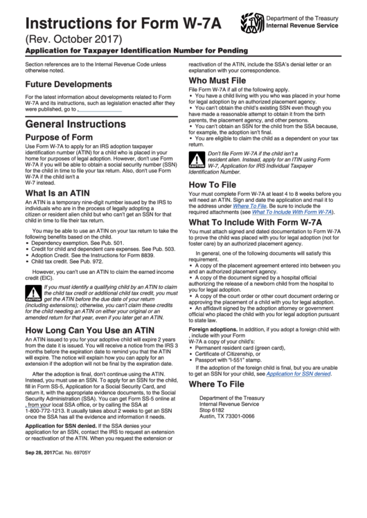 Instructions For Form W-7-A - Application For Taxpayer Identification Number For Pending U.s. Adoptions Printable pdf