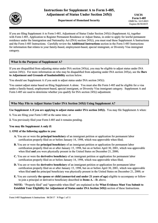 Instructions For Form I 485 Supplement A Adjustment Of Status
