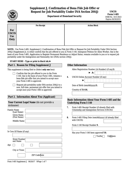 Top 10 Uscis Form I 485 Templates Free To Download In Pdf Format