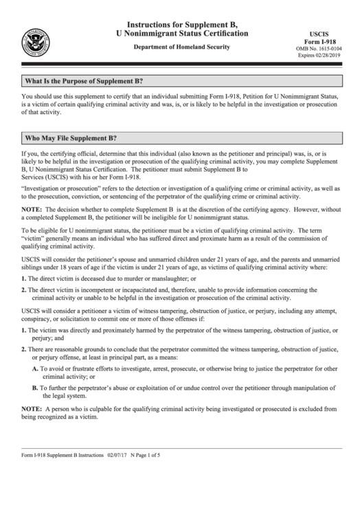 Instructions For Supplement B U Nonimmigrant Status Certification