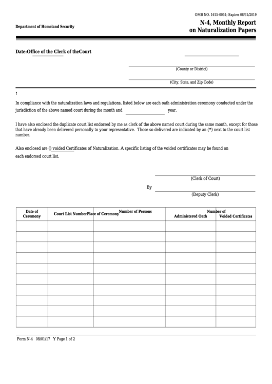 Form N-4 - Monthly Report Naturalization Papers
