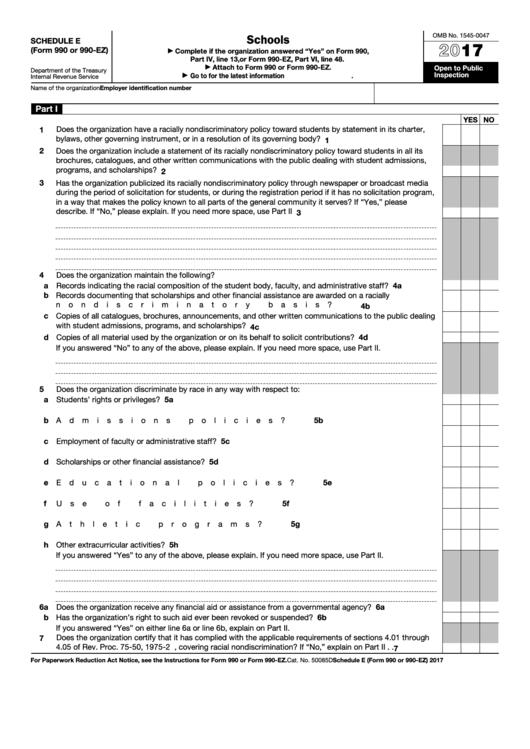 Fillable Schedule E Form 990 Or 990 Ez Schools 2017 Printable