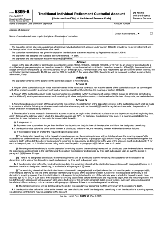 Fillable Form 5305-A - Traditional Individual Retirement Custodial Account Printable pdf